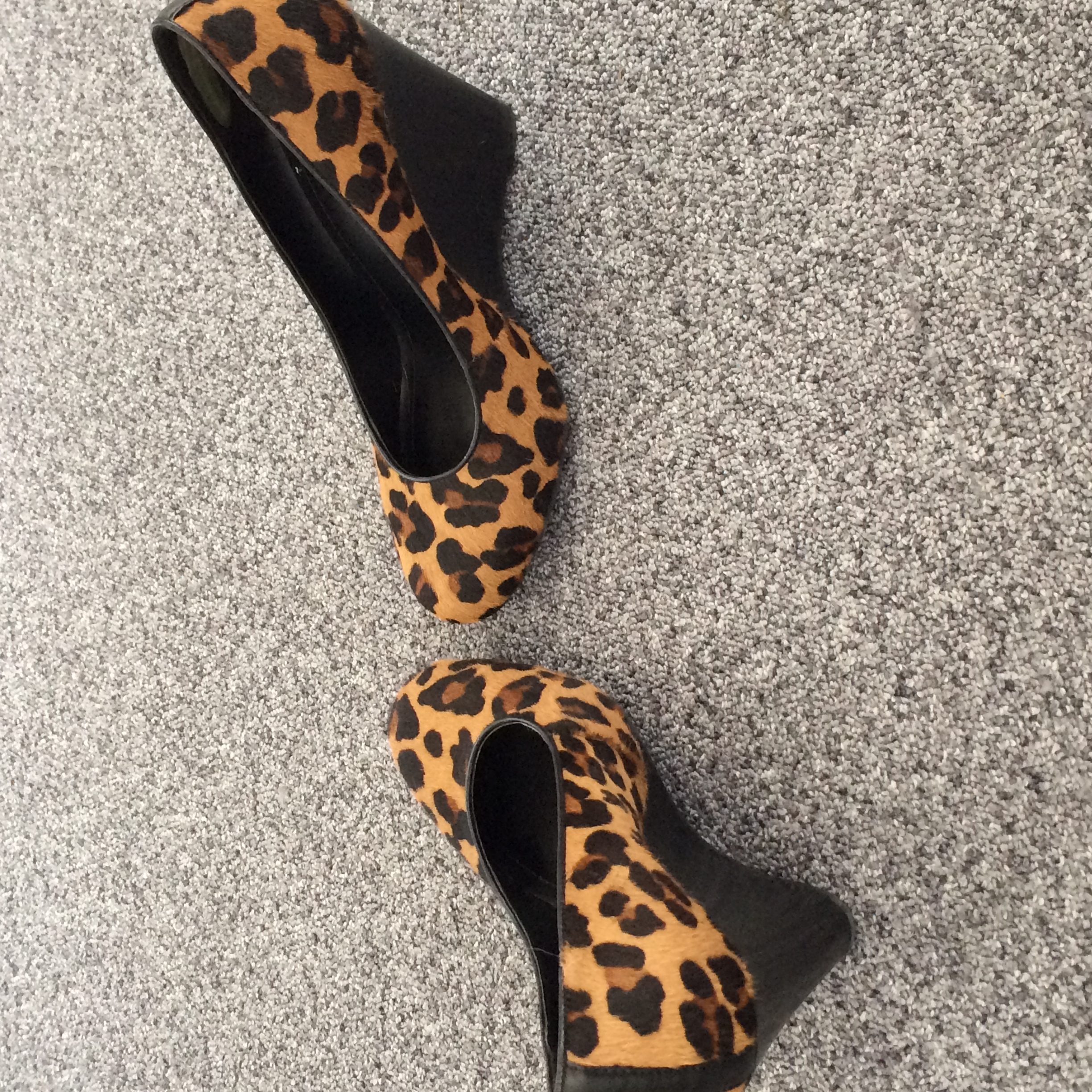 30f3b548355 ... 4 inch heel. Gillian Lewis  Spectrum - Leopardskin wedge heeled shoes